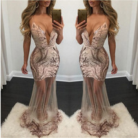 Women Strap Hang Deep V Neck Backless Bead Slice Perspective Sequined Sleeveless Solid Color Sexy Lace