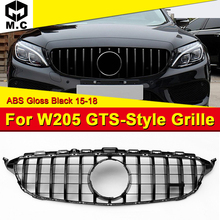 W205 GTS Style Front Grille Grills Fits For Sports C180 C200 C250  without Camera Hole Black Bumper Mesh 15-18