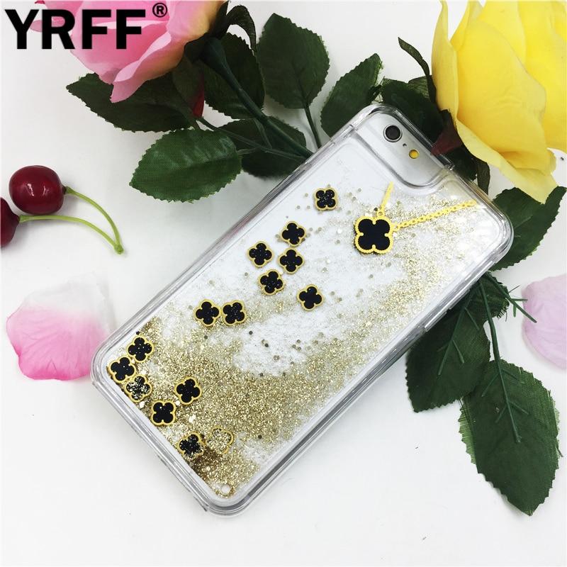 YRFF Clover Pendant Necklace liquid quicksand case Fundas para iPhone - Accesorios y repuestos para celulares