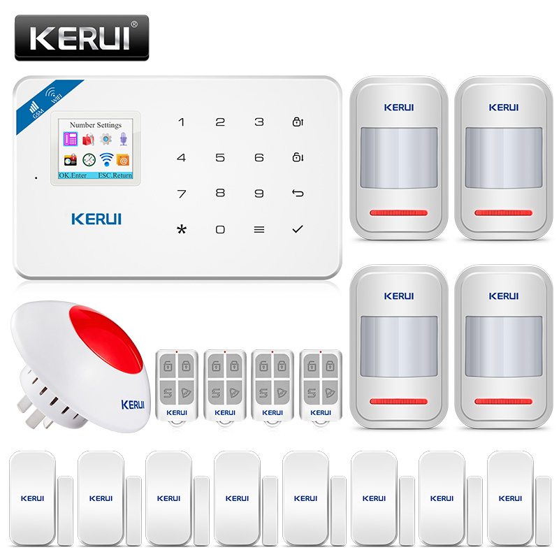 KERUI W18 Senza Fili di GSM WIFI sistema di allarme Per La Sicurezza Domestica di Allarme Antifurto Kit iPhone Android IOS APP di Controllo TFT A Colori schermo