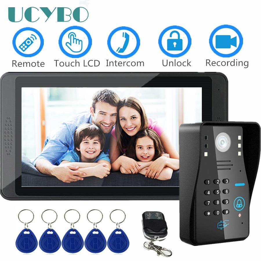 "7"" Door Phone Video Intercom For Home Touch Screen Waterproof Camera Ir Night Vision Video Recording RFID Video Doorbell System"