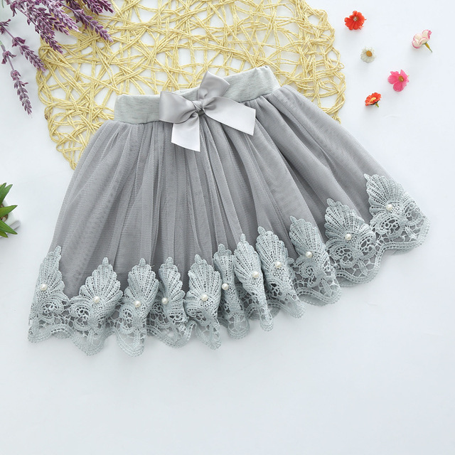 Big boy girl lace skirt all-match  degree bow beaded lace cotton lining gauze skirt