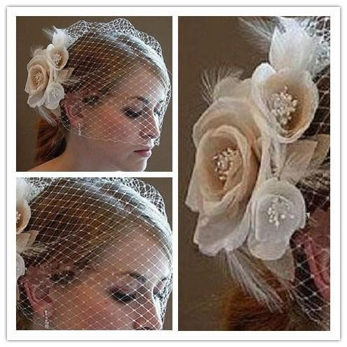 Wedding-Birdcage-Veils-Champagne-Ivory-White-Flowers-Feather-Bridal-Wedding-Hair-Pieces-Bridal-Accessories-2016-in