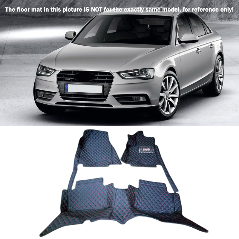 For Audi A4 B8 2008 2009 2010 2011 2012 2013 2014 2015 Interior Leather Floor Mats & Carpets 1set Car Styling! 10 13 for audi a3 8v quality leather mats inner carpet foot mat 2010 2011 2012 2013