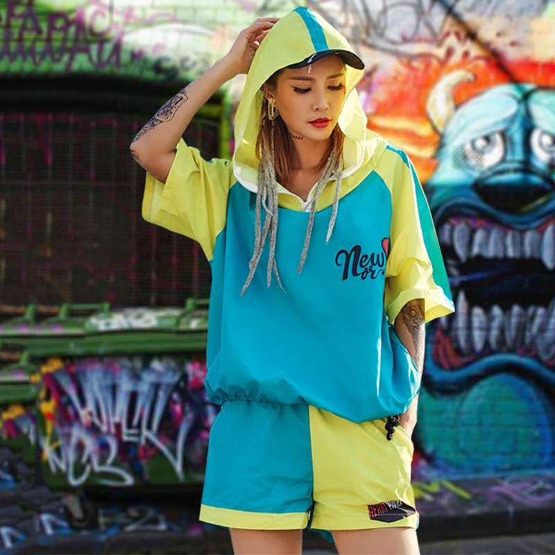 Hip Hop Dance Costume Women Contrast Hooded Tops Shorts Cheerleading Jazz Clothes Stage Dancing Outfits Street Dancewear DT906