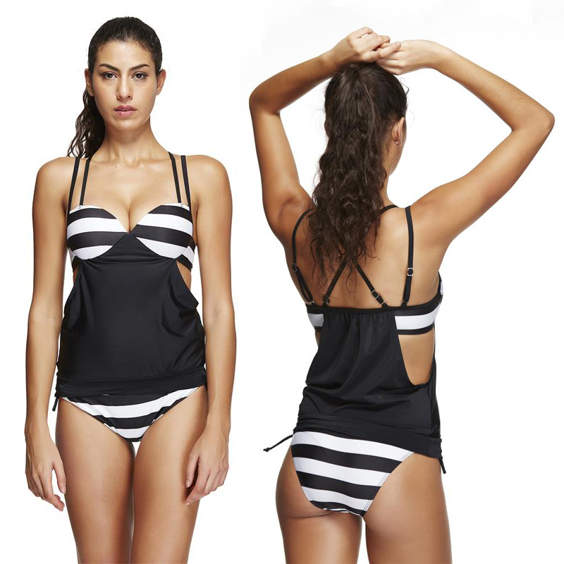ФОТО 2016 New Women Stripes Swimwear Push Up Tankini Top Maillot De Bain Black White Bathing Suits Swimsuit Plus Size Shorts Bikinis
