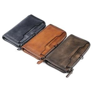 Image 5 - AETOO الأصلي الرجال الرجعية vintage جلد هاتف محمول محفظة متعددة بطاقة بت حقيبة يد جلدية طويلة سستة ضئيلة