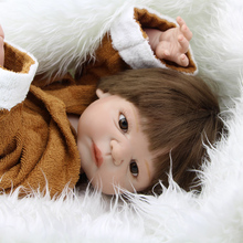 Handsome 23 Inch Realistic Reborn Boy Dolls Full Silicone Vinyl Newborn Babies Doll Kids Birthday Holiday Gift