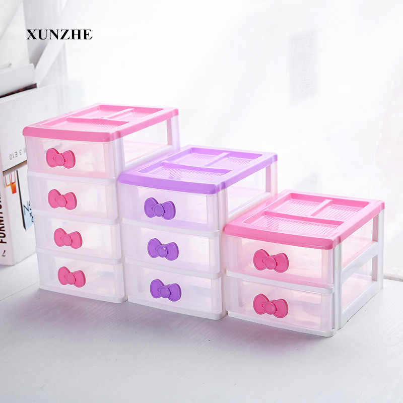 XUNZHE Plastic Multilayer Storage Box Jewelry Makeup Organizer Office Sundries Cosmetic Drawer Container Storage Organizer