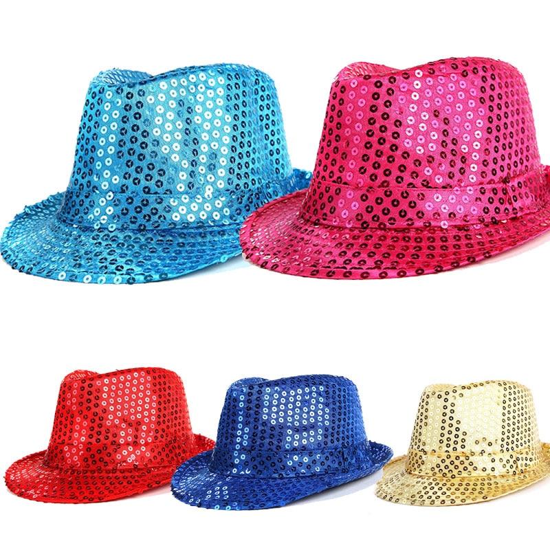 Women Men Kids Children Sequined Shiny Costume Jazz Glitter Trilby Dance Hat Cap