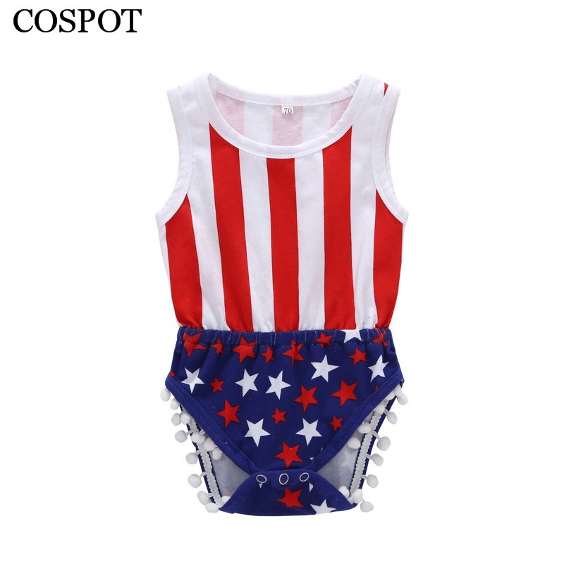 COSPOT July 4th Bodysuit Baby Boys Girls Summer Jumpsuit for 4th July Bebes Kids Baby Boy Girl Clothes 2018 New Arrival 30F
