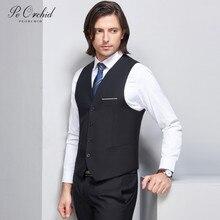 PEORCHID классический жилет для мужские черные Veston Sans Manche Homme Для мужчин s Wasitcoat Свадебные однобортный Тонкий торжественное платье жилет