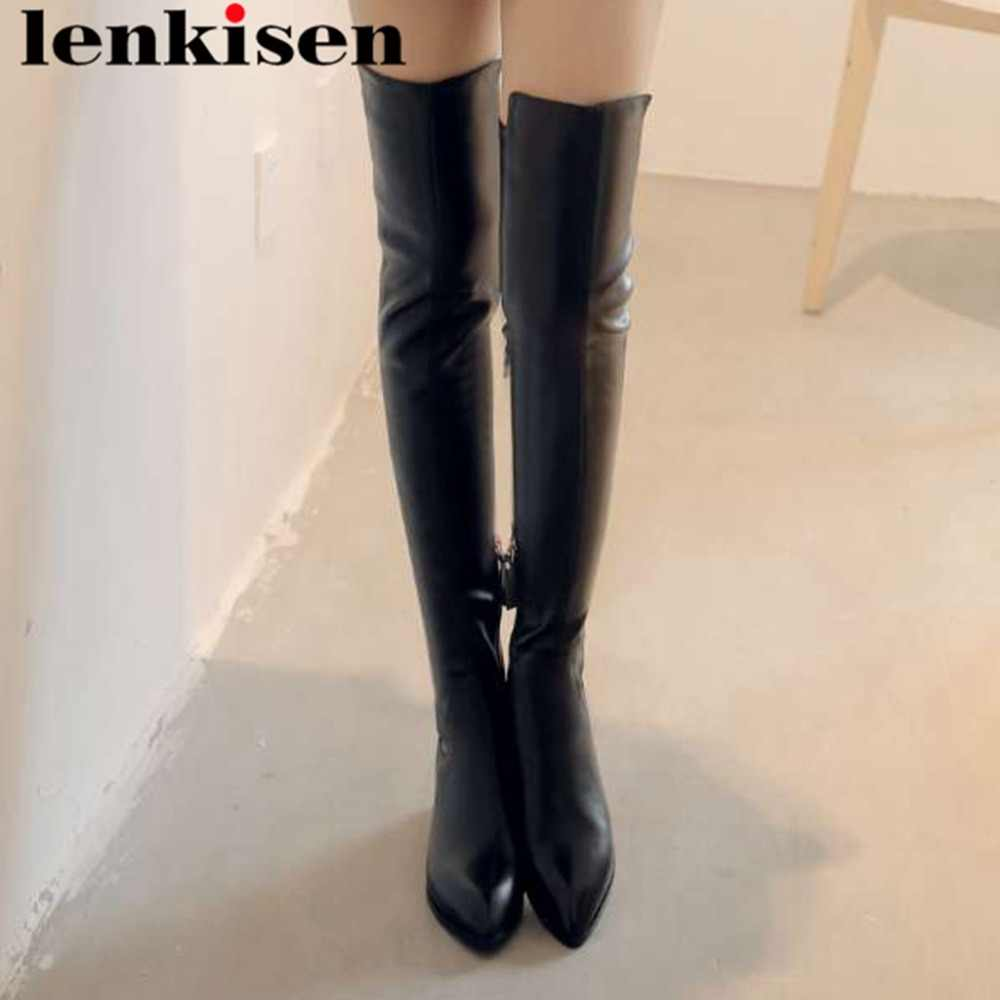 2019 new design cow leather fringe oxford pointed troe thick med heels zipper european superstars plus size thigh high boots L18