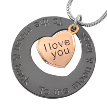 IJD9447 Stainless Steel Cremation Jewelry I Love You to The Moon and Back Heart Pendant for Ashes Urn Memorial Keepsake Necklace