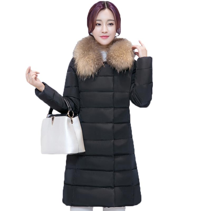 ФОТО Women Winter Jackets and Coats New Slim Long Sections Cotton Padded Jacket Fur Collar Fashion Women Parkas PW0664