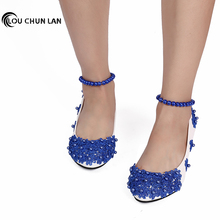 Women's Pumps Blue fashion Shoes Handmade Women's Wedding Shoes Dress Low-Heeled anklets  3cm/4.5cm Heel Free Shipping Party