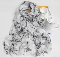 100% Silk long vintage scarf african muslim women russian scarfs print bamboo bird shawls white black hijab scarves