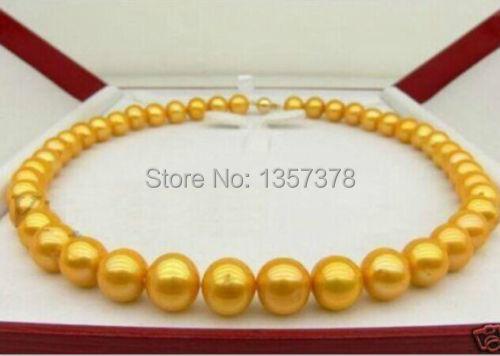 Livraison gratuite huij 002923 11-12mm mer du sud d'or collier de perles