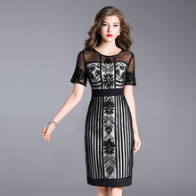 Женское кружевное платье, элегантное винтажное платье с вышивкой, Размеры M XXXL, весна лето 2018