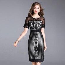 משרד עבודת עסקי שמלת 2018 יוקרה חדשה אביב קיץ נשים שמלות רקמת Vintage תחרה אלגנטית בתוספת גודל M XXXL