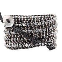 Новый Arriver Crystal Ювелирные Изделия! гематита И Серебра Ночь Кристалл Браслет Обруча На Натуральный Черный Кожа 32'-34 inch Оптовая