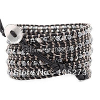 New Arriver Crystal Jewellery ! Hematite And Silver Night Crystal Wrap Bracelet On Natural Black Leather 32' 34inch Wholesale