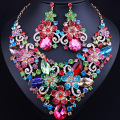 Exquisite flower crystal necklace earrings for Women Wedding Party Dubai Bridal Jewelry sets