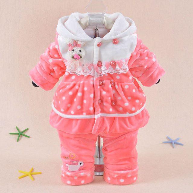 2017 Winter Baby's Set Girl Flannel Suit Thickening Keep warm Baby Dot Cartoon Rabbit (Two Piece Sets) Cotton-padded clothes