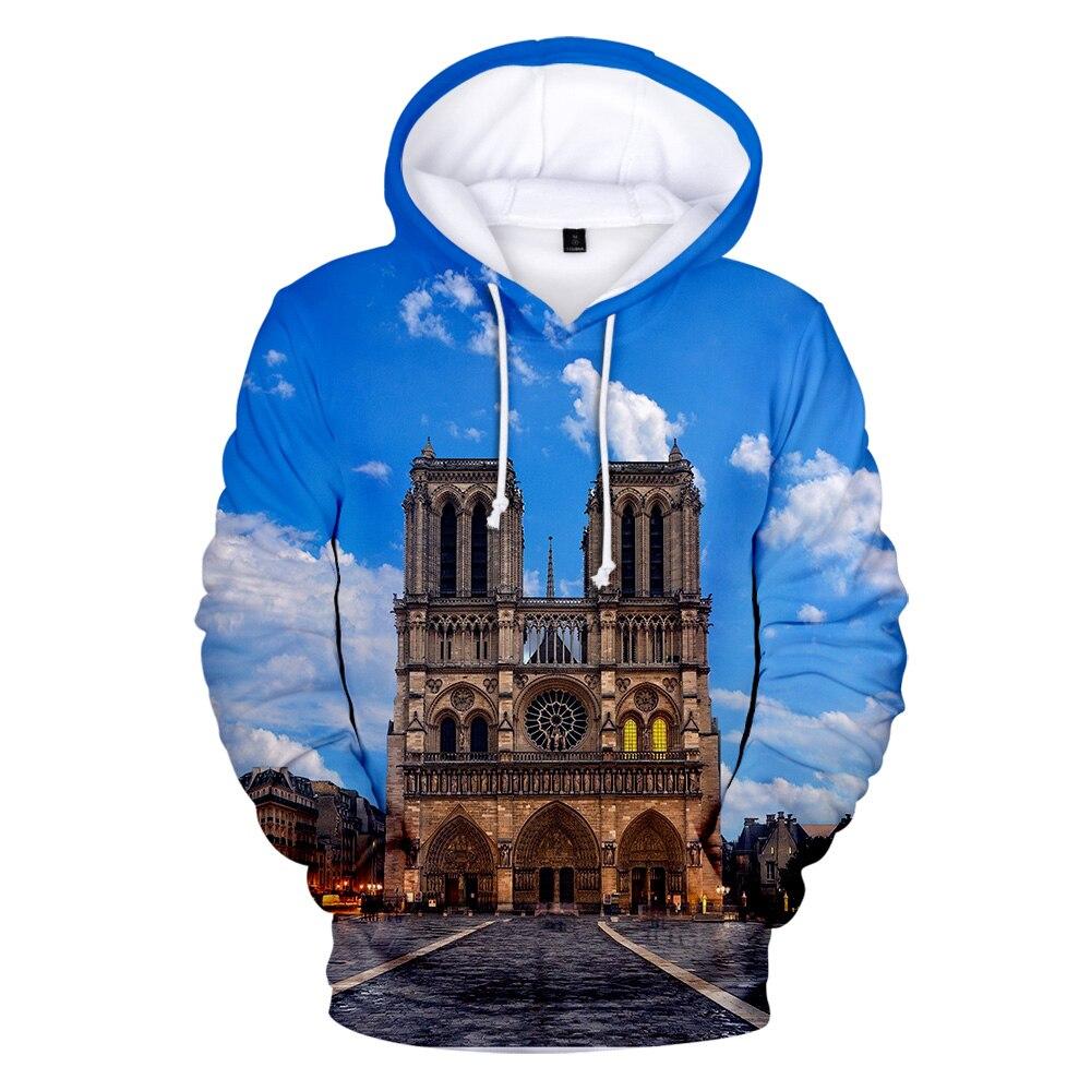e9cbe6039 2019 New Notre Dame de Paris 3D fashion Hoodies Sweatshirts Men Women  Autumn Fall winter casual