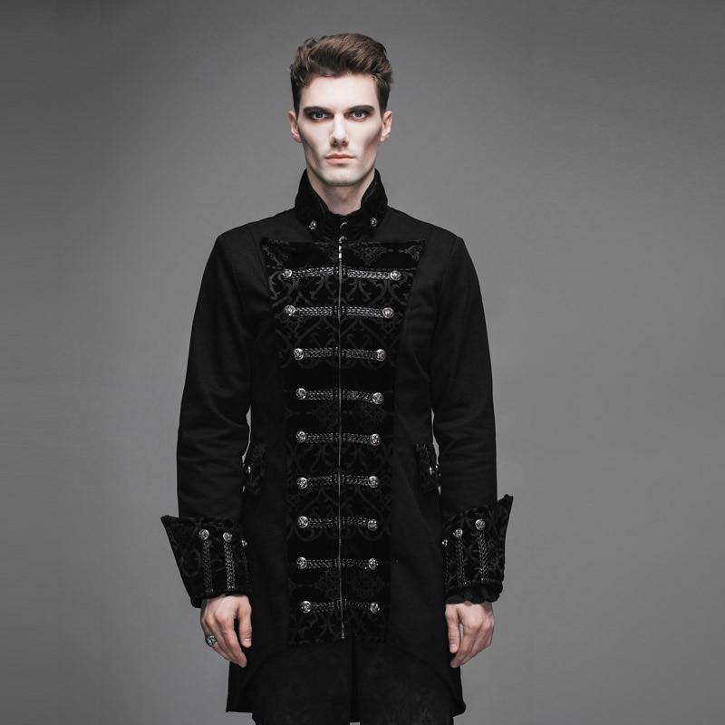 2017 Devil Fashion Gothic Men Black Long Jackets Steampunk Autumn ...