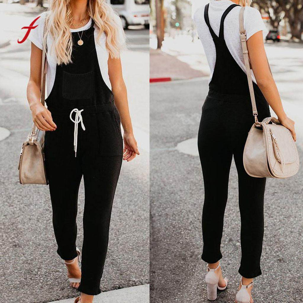 feitong overalls for women denim rompers womens jumpsuit summer black jumpsuit playsuit women salopette femme #3.5