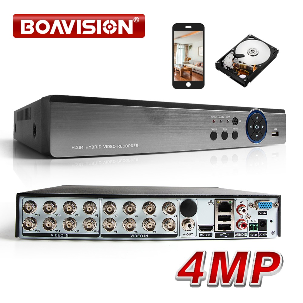 16CH AHD DVR 4MP Hybrid 8*4MP + 8*IP 4MP 5 In 1 AHD TVI CVI CVBS IP Security CCTV DVR H.264+ Encoding Onvif For AHD CCTV Camera