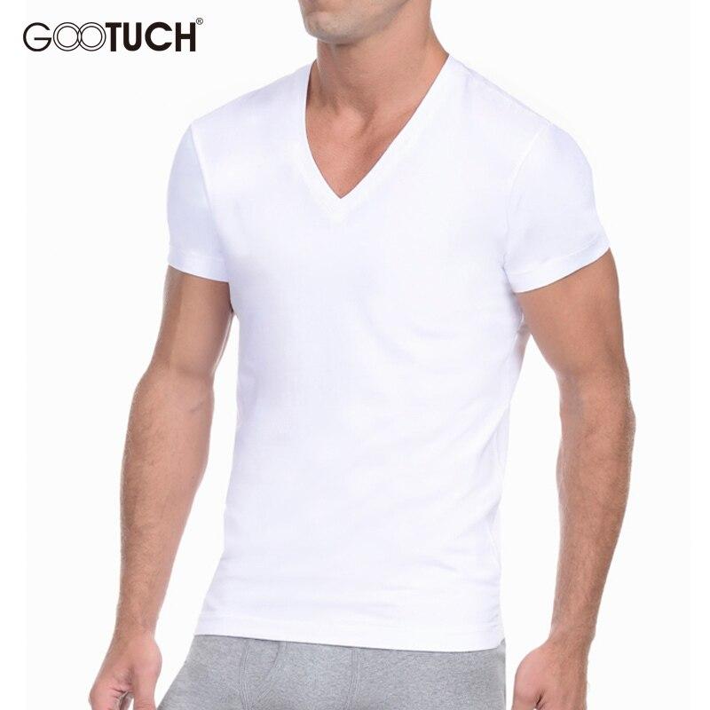Men's Cotton Undershirts Underwear Short Sleeved Undershirt Summer V Neck Shirts Spandex Bodybuilding Solid ColorT Shirts 2565