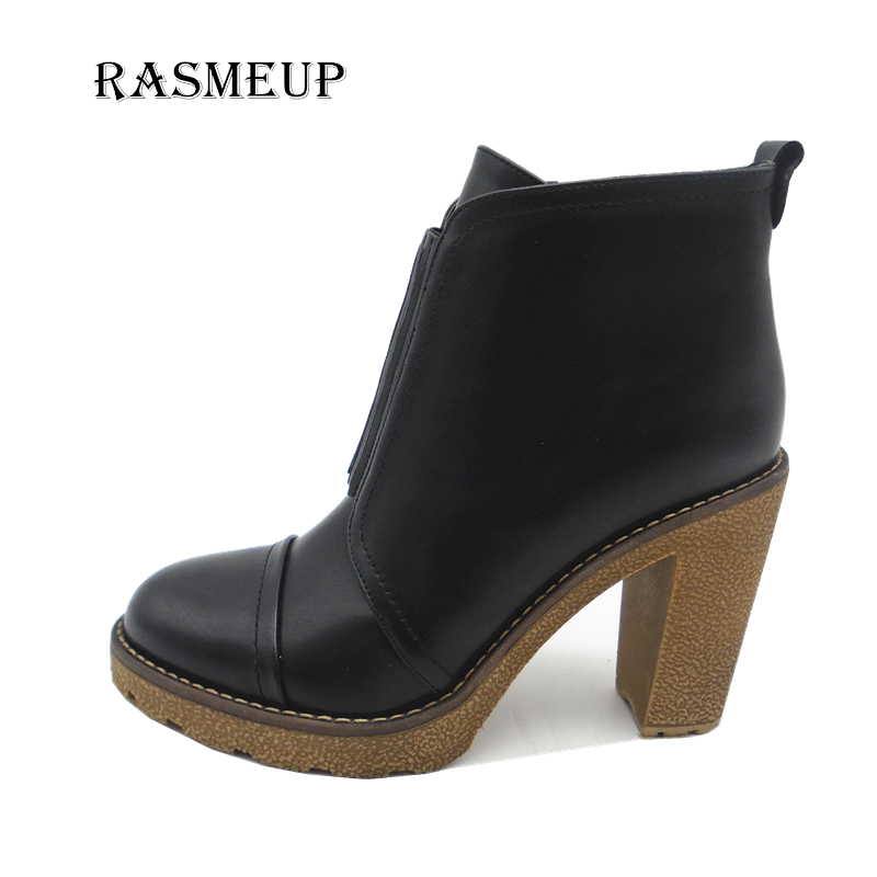 RASMEUP Women High Heel Round Toe Ankle Boots Woman Autumn Winter Warm Zipper Boots Slip On Short Boots Shoes sgesvier warm snow boots ankle boots high heel wedge boots retro round toe slip on casual shoes winter shoes for women ox148