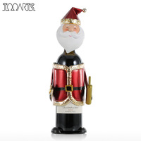 TOOARTS Decorative Santa Claus Wine Holder Handmade Metal Practical Craft Christmas Decoration Wine Rack Gift For