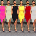 European Ladies Fashion 2016 Side Split Dress Sexy Candy Color Sleeveless Short Bandage Package Hip Bodycon Tight Dresses Hot