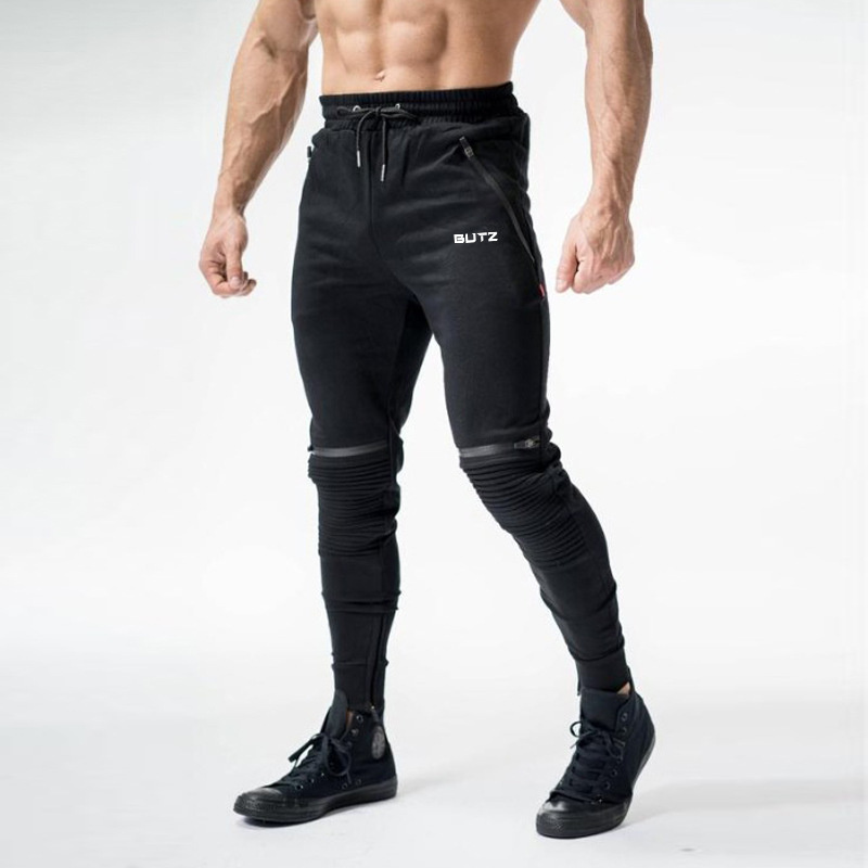 Autumn Winter Fold Zipper Mens Cotton Jogger Sweatpants Run Sports Workout Training Trousers Male Gym Fitness Bodybuilding Pants