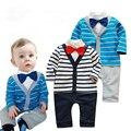 Fantasia Infantil Aparado Do Corpo Do Bebê 100% Algodão 2 Cores Listras Roupas de Bebê Menino Cavalheiro Macacão Carter Romper 1 pcs HB007