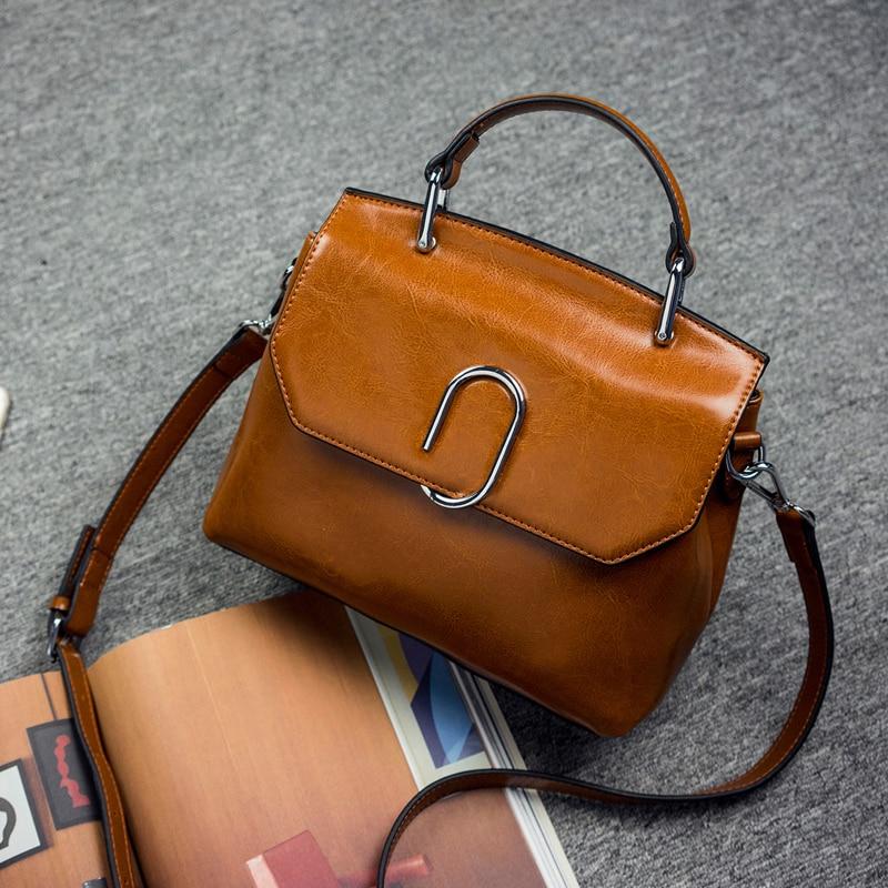 100% Genuine leather Women handbags 2019 New Fashion Handbag Brown Women Bag Vintage Messenger Bag Office Ladie Briefcase messenger bag