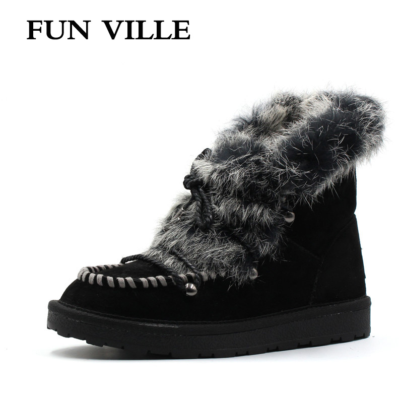 FUN VILLE New Fashion Woman snow boots black gray brown Real Fur Wool Ankle boots warm Winter Shoes for Women size 34-42 fashion woman s striped beanies hat 2016 new autumn winter knitted warm wool casual girl cap for woman skullies chapeu feminino