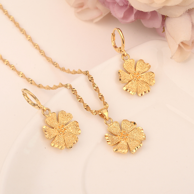 24 k Fine gold GF Necklace Earring Set Women Party Gift flower Jewelry Sets daily wear mother gift DIY charms Sjolid Jewelry