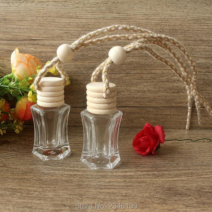 6ML 40pcs lot Empty DIY Car Hang Perfume Container Charming Glass Hang Pendant Decorations Creative Essential