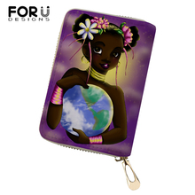 FORUDESIGNS African Girls Printing Pattern Money Purses Bags Women PU Business Card Holder Fashion Lady Cluth Wallets