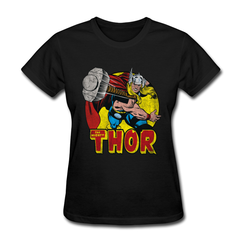 Thor Springs Into Action 100% Cotton Tops Shirts for Women Simple Style T-Shirt Design Slim Fit O Neck Tshirts Short Sleeve Thor Springs Into Action black
