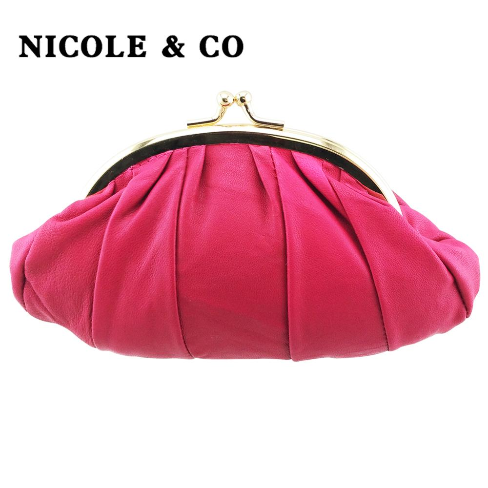 NICOLE & CO Genuine Leather Coin Purse Womens Sheepskin Change Purse Metal Hasp Closure Card Holder Wallet New Small Bag