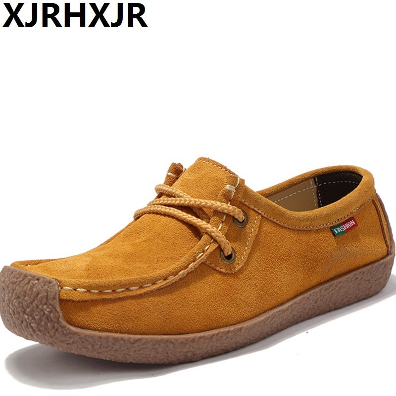 XJRHXJR Brand Genuine   Leather   Women Flat Shoes Lace up Autumn Sneakers Oxford Shoes Female Moccasins Casual   Suede   Sewing Flats
