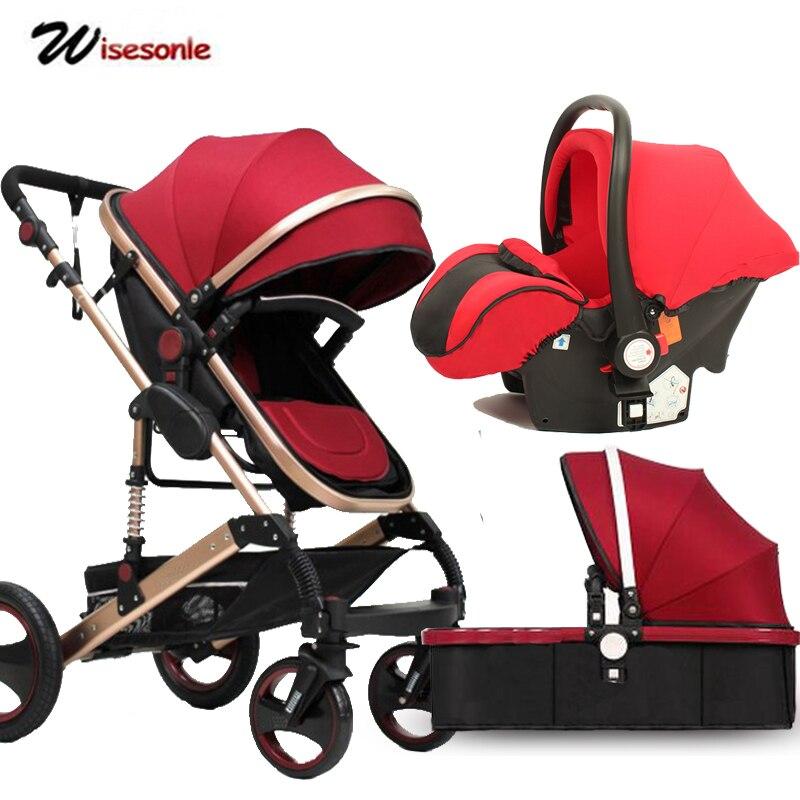 Wisesonle baby <font><b>stroller</b></font> 2 in 1 <font><b>stroller</b></font> lying or dampening folding light seasons Russia free shippin