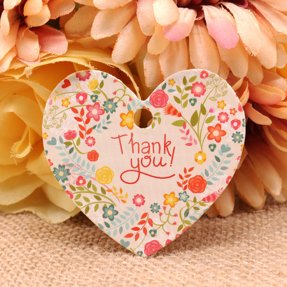 50pcs/lot Kraft Paper Thank You Tag Wishing Bottle Gift Box Card Flower Pattern Hang Tags Crafts Wedding DIY Party Decoration