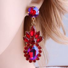 Vintage Drop crystal big earrings Colorful Rhinestone Flower Luxury Alloy Stud statement Jewelry Gifts