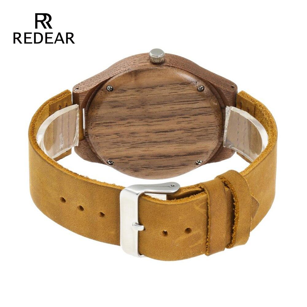 REDEAR Klasyczny projekt marki Zegarki z drewna orzechowego z - Zegarki damskie - Zdjęcie 4